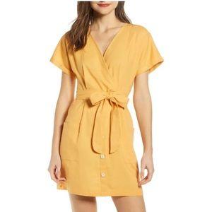 All in Favor Yellow Linen Blend Mini Dress Medium